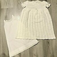 Vintage Baby Infant Christening Baptism Gown Dress White Hand Knit with Slip