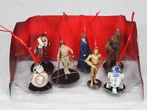 Disney Star Wars Force Awakens 7pc Ornaments Figure Set BB-8 R2 Leia Rey Chewie