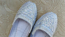WHITE  LADIES INDIAN LEATHER BACKLESS/SLIPPER/WEDDING MULES SIZE 3