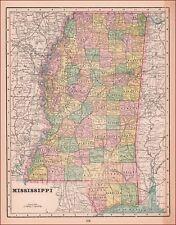 MISSISSIPPI MAP, ANTIQUE, ORIGINAL 1898