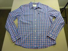 037 MENS NWOT ABERCROMBIE & FITCH BLUE / WHT / RED CHECK L/S SHIRT XXL $130 RRP.