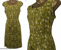 BN LADIES WHITE STUFF SPERO GREEN YELLOW PRINT SUMMER TEA DRESS TUNIC SIZE 8-18