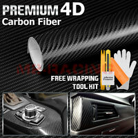 *5ft x 6ft 4D GLOSS BLACK Carbon Fiber Vinyl Wrap Sticker Decal Air Free Release