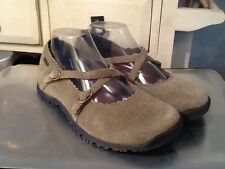 SKECHERS Suede Mary Jane Cross Strap Flats - Olive - Size 8.5 (SN 45993)