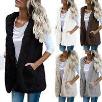 Damen Fleece Weste Winter Warm Kapuze Outwear Freizeit Mantel Sherpa Strickjacke