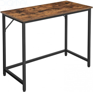 VASAGLE Writing Desk, Computer Small Office Table, Rustic Brown + Black