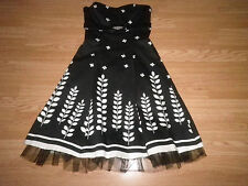 The Vestry Ladies Beaded Strapless Dress Black & Ivory Net Underskirt Size 10