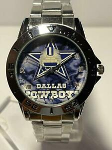 DALLAS COWBOYS NFL Team Star Logo Stainless Steel Link Silver Analog Watch