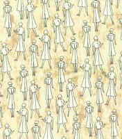 Read All About It tan ladies Northcott retro fabric