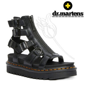 Dr. Martins OLSON Zipped Leather Strap Black Sandals 8