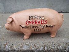 CAST IRON ADVERTISING FINCK'S OVERALLS PIG HOG BANK WEAR LIKE A PIG'S NOSE 1885