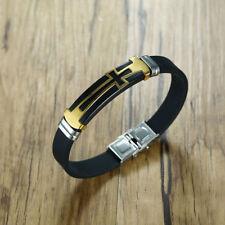 Men Black Silicone Sport Wristband Bracelet Cross Crucifix Punk Rock Bangle Cuff