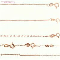 """Rose Gold Dipped 925 Sterling Silver Fine Trace Chain 16"""" 18"""" 20""""  *FREE P&P*"""