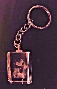 BEAUTIFUL 3D LASER ETCHED NOVELTY CRYSTAL KEY RING - SWEET HEARTS, ANGELS