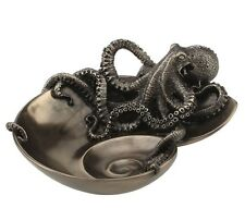 """6.5"""" Octopus on Spiral Shaped Tray Steampunk Animal Home Decor Statue Figure"""
