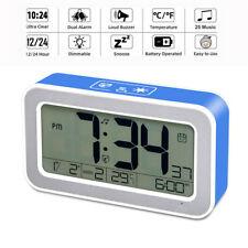 Music Digital Alarm Clock Rechargeable Snooze Bedroom Date Temperature Display