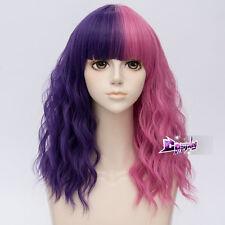 45CM Purple Mixed Magenta Curly Hair Harajuku Lolita Women Cosplay Wig + Cap