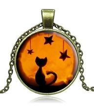 H4 Antique Bronze Halloween Cabochon NECKLACE Cat Kitty NEW