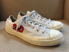 CONVERSE ALL STAR WHITE COMME DES GARCONS PLAY CANVAS SNEAKERS WOMENS 10 MENS 8