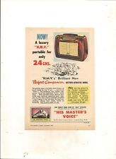 "ORIGINAL VINTAGE 1954 HMV ""PERFECT COMPANION"" MANTEL RADIO AUSTRALIAN A5 ADVERT"