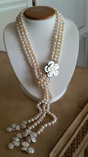 "Artisan Triple Strand Freshwater Pearl White Adjustable Necklace up 22"" Long"