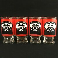 Set of 4 VTG Drinking Glasses 1970s Pringles Potato Chips Pedestal Advertisement