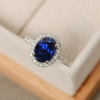Blue Sapphire Gemstone Ring Natural 2.65 ct Diamond Rings 14kt Gold Size M N O P
