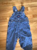 OSHKOSH B'GOSH Vestbak Bubble Overalls Vintage Girls Denim 18 mo Ruffle Blue
