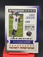 2020 Panini Rookies & Stars Ticket Masters Lamar Jackson Orange Foil SP To /99