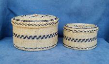 "Pair of Sweet Grass Woven Nesting Baskets w/Lids 5 1/2"" & 4 1/4"" Tan w/Blue"