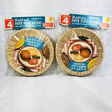 8 Vintage Rattan Wicker Paper Plate Holders Picnic BBQ Camping Lunch Snack New