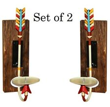 Two Aztec Metal Arrow Candle Holders on Antique Wood bases Wall Western Decor