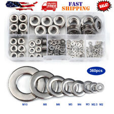 360 Pc Stainless Steel Lock & Flat Washer Assortment For Nuts And Bolts Maxcraft