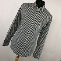 Hugo Boss XL Shirt Black White Stripe Button Down Front Long Sleeve Size Mens H1