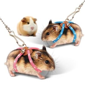 Adjustable Small Pet Rat Mouse Hamster Harness Rope Lead Leash with Bell