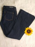 Express Stella flare women's jeans SZ 12R low rise dark wash denim 38by33