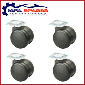 4 X GRX 30MM TWIN WHEEL SWIVEL PLATE CASTOR 50KG - HEAVY DUTY (CASTER)