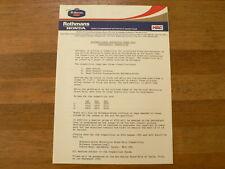 PM189 ROTHMANS HONDA HRC  PRESSE INFO 3 PAGES ASSEN 1985