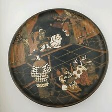 Antique Japanese  lacquer chinoiserie Samurai? Figures plate/tray 1800's