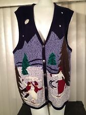 Bobbi Brooks Ugly Christmas Ice Skaters Knit Cardigan Sweater Vest XL Skating