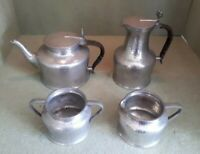Superb Antique Art Nouveau Pewter Tea & Coffee Set