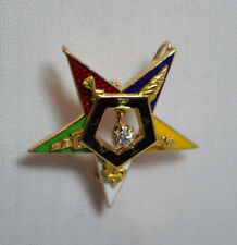 ANTIQUE MASONIC 14K GOLD  ENAMEL ORDER EASTERN STAR PIN WITH DIAMOND , 3.6 g !