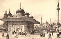 Istanbul, FOUNTAIN OF AHMED III ~ Antique Turkish Rococo Architecture Art Print
