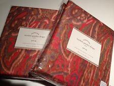 "Pottery Barn Set 2 Scarlet Drapes Red Paisley Silk 96"" Pole Pocket Scarlett New"