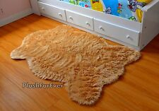 5' Camel Beige Faux Fur Rug Nursery Baby Shower Gift Home Decor Sheepskin Rug