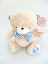"8"" Forever Friends Vintage Plush Soft Toy With Blue Check Bow Tie (PL14) BLUE"