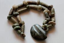 Ancient Pre Columbian Mayan Jade Necklace and Pendant