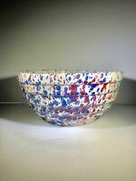 Red White Blue Bauer YellowWare Bowl Stoneware  Spatterware Beehive ridges
