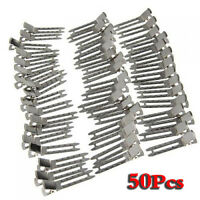 Approx. 50Pcs Double Prong Metal Alligator Clips Hair Bows - Silver AD