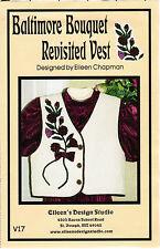 "Eileen's Design Studio Sewing Applique Pattern ""Baltimore Bouquet Revisited Vest"